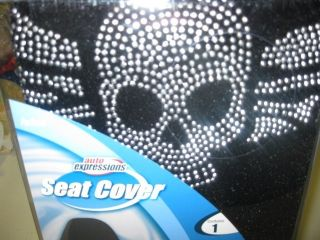 New Cool Silver Bling Winged Skull Bucket Seat Cover