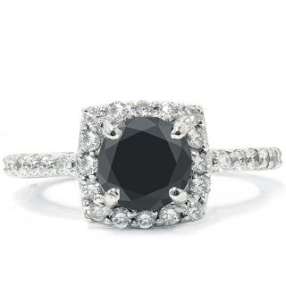 SI 1 40ct Diamond Black Spinel Halo Engagement Ring 14k White Gold