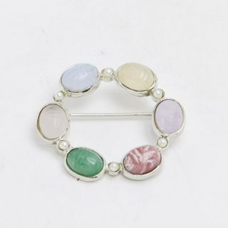 Sterling Silver Finished Genuine Multi Stone Scarab Pin