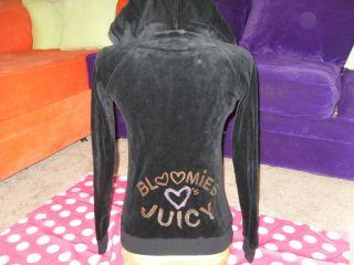 Logo Velour Hoodie Black Sweatshirt Bloomies Love Juicy Sz XS S