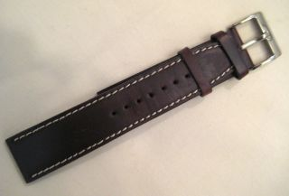 Kobold Watch Band Brown Leather Saddle Stitched in White
