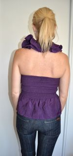 Purple Ruffle Layered Victorian Couture Rosette Halter Blouse Shirt