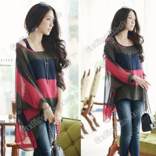 Dolman Multicolour Stripe Strander Vest Tops Blouses Shirt 432