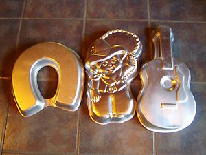 Wilton Cake Pan Lot Cowboy Cowgirl Guitar Horseshoe Western Sheriff