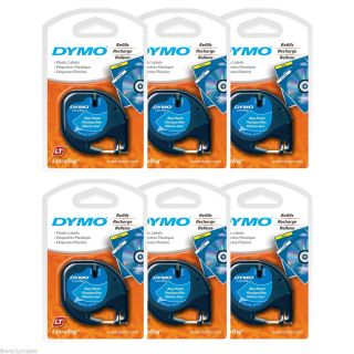 6PK Dymo Letra Tag Ultra BLUE Plastic Label Refill Tapes LetraTag LT