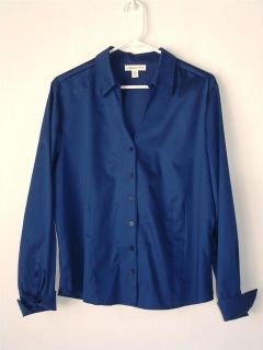 WOMENS COLDWATER CREEK BRIGHT BLUE COTTON BUTTON UP SHIRT TOP PXL