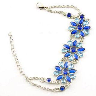 Silver Plated Floral Design Blue Crystal Link Bracelet w/ Lobster Claw