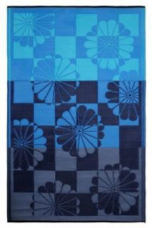Patio Rug Mat Tahiti Blue Floral Recycled Earth Friendly