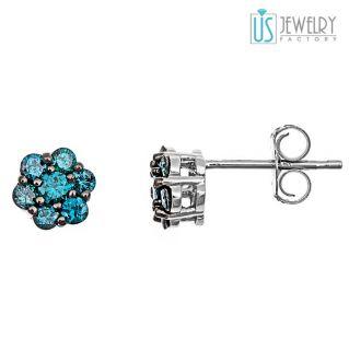 50 Carat Fancy Blue Diamond Stud Earrings 14k White Gold 14 Stones