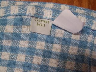 Garnet Hill Blue White Gingham Cotton Blanket Twin 71 x 94