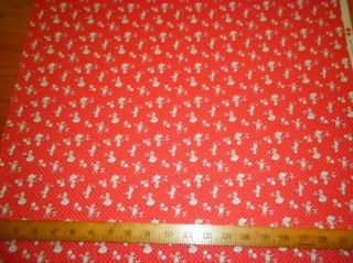 Blue Hill Fabric Cotton Toybox New Vintage Print Sand Red Children