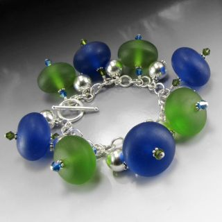 Blue and Green Resin and Crystal Charm Bracelet with Sterling Silver
