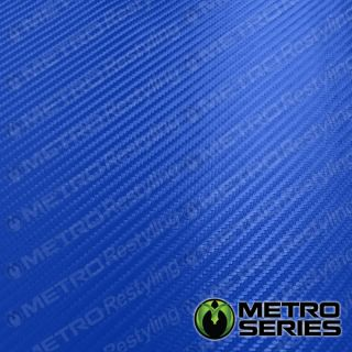 Bright Blue Metro 3D Flexible Carbon Fiber Vinyl Wrap Automotive Film
