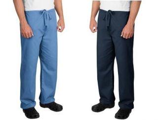 19BB NEW POWDER & NAVY BLUE 2 PAIR SET SIZE S MEN SCRUB PANTS BOTTOMS