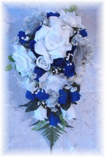 21pc Wedding Bouquet ROYAL BLUE White Silver Silk Bridal Flowers Roses