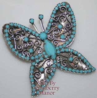 Vintage Blue Milk Glass Scroll Butterfly Brooch Pendant