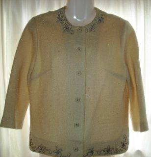 Vintage Celebrity Owned Embroidered Beaded Cardigan Sweater Beaded