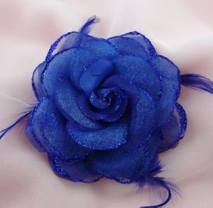 Royal Blue Silk Rose Flower with Feathers Brooch
