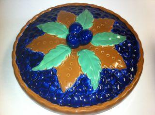 Vintage 10 Blueberry Pie Covered Ceramic Figural Plate Server Dish