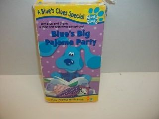 Blues Clues Blues Big Pajama Party VHS Blue Dog Cartoon Video Tape