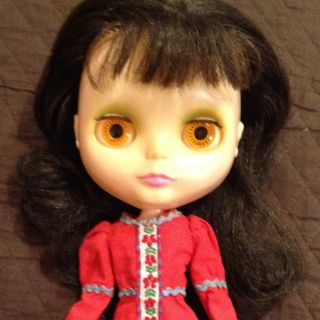 1972 Kenner Blythe Doll Dark Brown Hair in Roaring Red