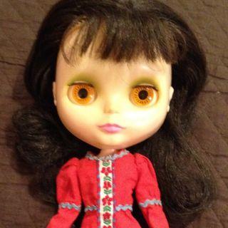 1972 Kenner Blythe Doll Dark Brown Hair in Roaring Red
