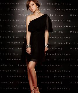 Women Sexy Black Chiffon One Shoulder Korean Cocktail Evening Races