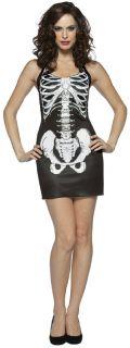 Bones Tank Dress  Black Mini Dress with Skeleton Print. One Size Fits