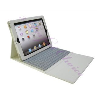 White Wireless Bluetooth Keyboard Deluxe Leather Case Cover Stand iPad
