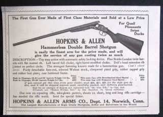1906 HOPKINS ALLEN ARMS Double Barrel Shotgun magazine Ad gun hunting