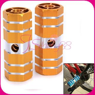Pair of BMX Cycling Bike Parts Bicycle 3 8 Axle Alloy Foot Pegs Golden