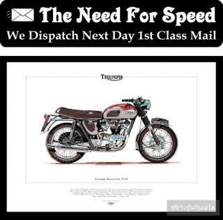 Triumph Bonneville Print Classic Motorcycle Art 650cc