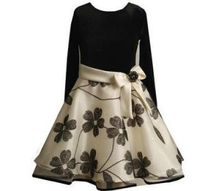 Bonnie Jean Girl Black Ivory Flock Flower Winter Christmas Holiday
