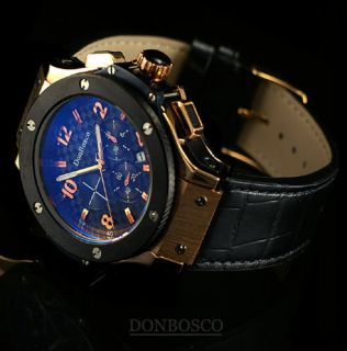 DON BOSCO Genuine Leather MEN S WATCH Black