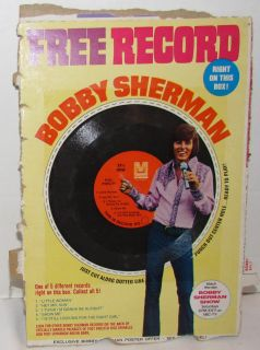 Post Raisin Bran Bobby Sherman record, complete uncut box back