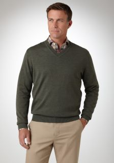 Bobby Jones Mens Merino Long Sleeve V Neck Sweater
