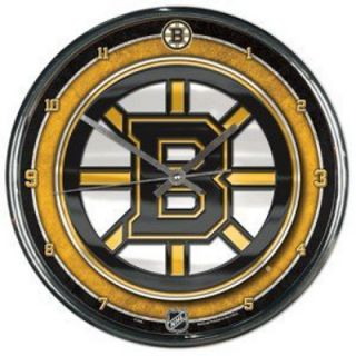 Boston Bruins NHL Hockey Chrome Style Round Wall Clock