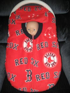 BOSTON RED SOX MLB DOUBLE FLEECE BABY CAR SEAT COVER WITH FULL ZIPPER