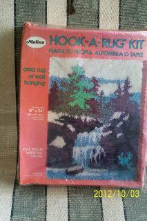 Vtg Malina Latch Hook Kit Rug or Wall Hanging Waterfall