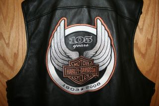 Harley Davidson 105th Anniversary XL Mens Leather Vest 2008