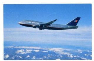 united airlines boeing 747 400 postcard