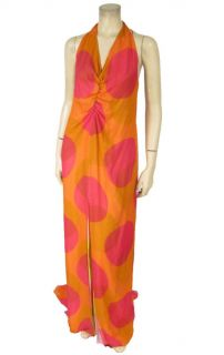 NWT $2200 Randolph Duke Orange Silk Halter Dress 10 Orange Red Polka