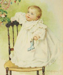 Antique 1898 Maud Humphrey Bogart Frame Print Victorian Child Baby