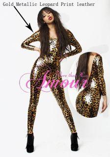 Gothic Punk Gold Leopard Print Metallic Catsuit Bodysuit Jumpsuit