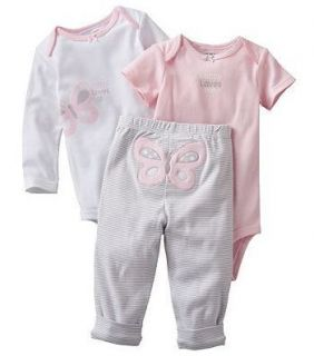 Carters Baby Girl Set 2 Bodysuits Pants Pink Gray Butterfly 3 6 9 12