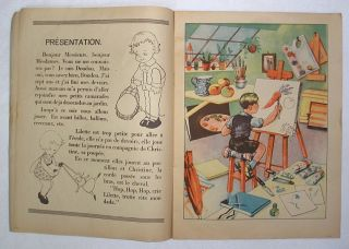 French Childrens Book 1930 Charming Illustration Color
