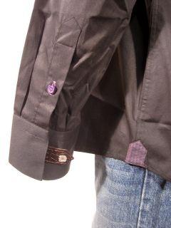Bogosse mens black solid purple button sport shirt 5 $225 New