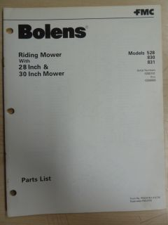 FMC Bolens Lawn Garden Equipment Tractor Riding Mower 528 830 831