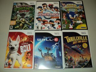 Lot o 6 Wii Games TMNT Turtles Bolt Walle Thrillville MLB Power Pros
