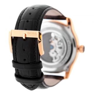 HUGO BOSS Mens Rose Gold Automatic Black Leather Watch 1512653 NWT